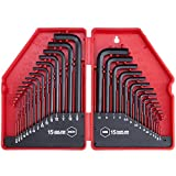 30-Piece Premium Hex Key Allen Wrench Set, SAE and Metric Assortment, L Shape, Chrome Vanadium Steel, Precise and Chamfered Tips | SAE 0.028-3/8 inch | Metric 0.7-10 mm | In Storage Case