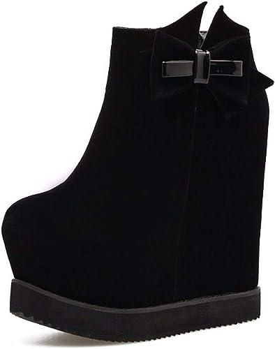 HBDLH Chaussures pour Femmes La Mode Arc avec Talon Haut 15Cm Pente Plus étanches Tableau à L'Intérieur Night-Club Super Talon Haut Bref des Bottes.