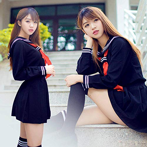 N-B Conjunto de uniforme marinero para nia de secundaria, disfraz de cosplay de manga larga, anime infierno
