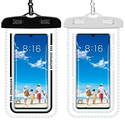 Funda impermeable para smartphone de 2 unidades, funda para teléfono móvil resistente al agua para iPhone 12/11/XR/8/8 Plus, Galaxy S10/S10+/S20/S20+, Huawei P40 Pro, hasta 7,2 pulgadas, blanco&negro