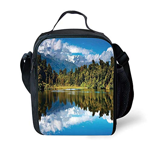 MLNHY School Supplies Lake House Decor,Mirror Reflection on Lake by The Forest with Cloudy Sky in Southern Alps,Green Blue White for Girls or Boys Washable