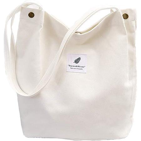 WillingFun Damen Stofftasche Canvas Tasche Umhängetasche Shopper Casual Handtasche groß Chic Schulrucksack für Alltag Büro Schulausflug Einkauf, 38 x 32 x 11cm Weiß