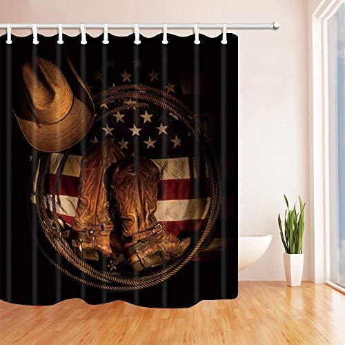LRSJD Decoratie voor westse hoeden, Amerikaanse vlag, met cowboy-laarzen, polyester-stof, waterdicht, 71 x 71 cm, met haak voor douchegordijn, inclusief