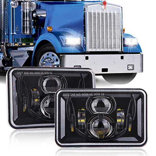 Z-OFFROAD 2pcs 60W 4x6 Led Headlights Dot Approved H4656 H4651 H4652 H4666 H6545 Sealed Beam Rectangular Headlamp for Freightliner Kenworth Peterbilt Oldsmobile Cutlass Trucks - Black