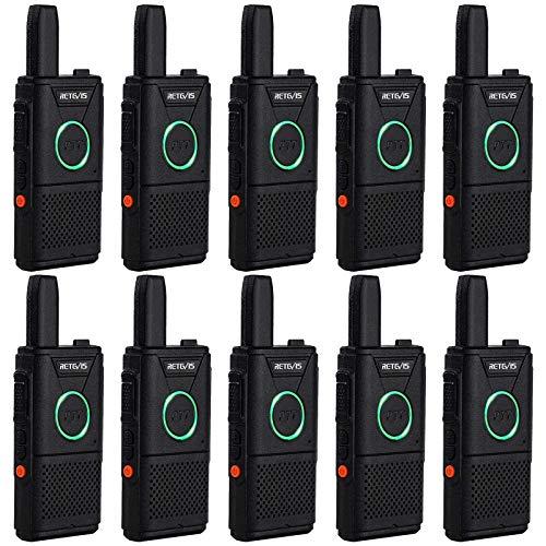 Retevis RT618 Mini Walkie Talkie PMR446 Doppio PTT Radio Biredizionale Portatile, Ricetrasmettitore Ricaricabile a Lunga Distanza, Walkie Talkie di Emergenza per Team, Ospedale(Nero, 10 Pezzi)