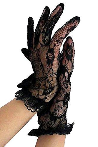 krautwear® Damen Handschuhe Spitze Ellenbogen Lang Abendhandschuhe Gerafft Braut Kurz Satin Schleife Schwarz Rot Weiss (058-schwarz)