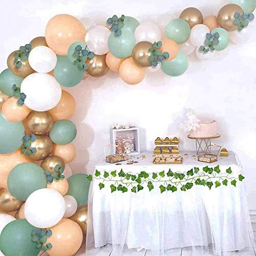 Kit de arco de guirnalda de globos verdes, con globos verdes, melocotón, blanco, dorado, para despedida de soltera, globos de boda, decoración de baby shower, bosque safari, selva tropical.
