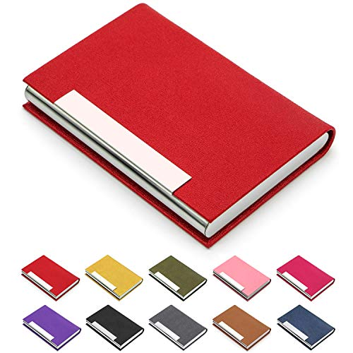 Business Card Holder, Business Card Case Luxury PU Leather & Stainless Steel Multi Card Case,Business Card Holder Wallet Credit Card ID Case/Holder for Men & Women. (Red)…