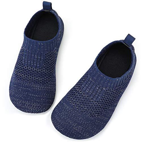 STQ Toddler Boys Shoes Kids Non-Slip Indoor Socks Slippers Navy Blue 4/5 M US Toddler