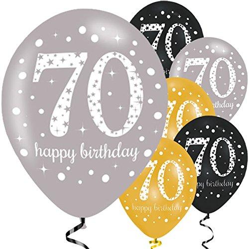 Feste Feiern Luftballon Deko 70. Geburtstag | 6 Teile Zahlenballon Ballon Gold Schwarz Silber metallic Helium Party Set Happy Birthday 70 Jubiläum