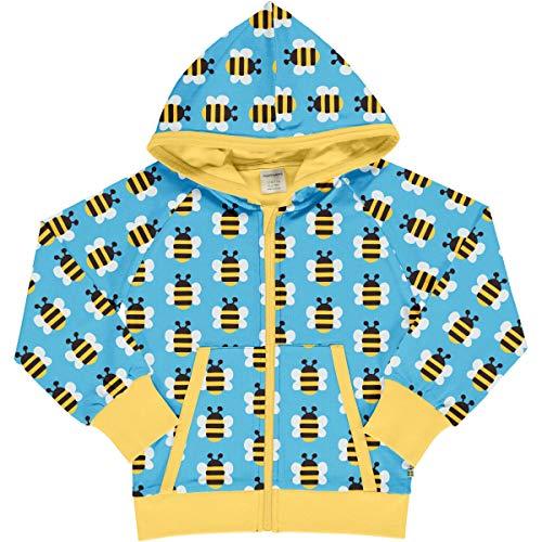 Maxomorra Sweatjacke mit Kapuze/Biobaumwolle/hellblau mit Bienen 110-116