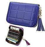 iSuperb Porte Carte RFID Blocage Porte Carte Crédit Cuir Titulaire de la Carte avec 13 Cartes Card Holder Wallet pour Femme 11x8x2.7cm (Bleu)