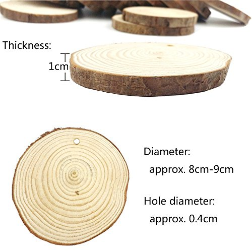 15 Pieces 8-9cm Unfinished Predrilled Wood Slices Round Log Discs with, Decoration for Christmas Day (Brown)