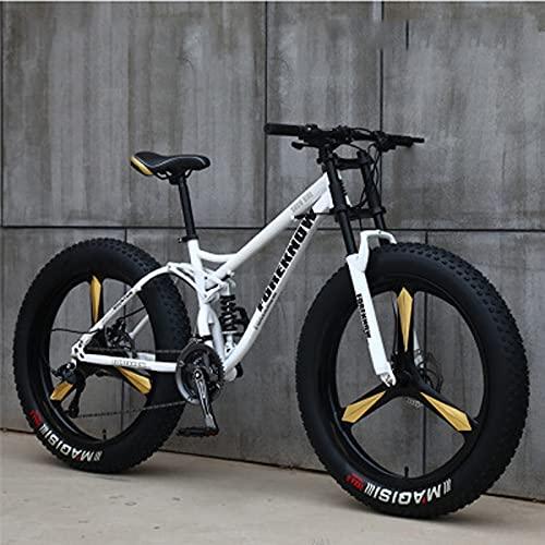 SHUI 26'' Bicicletas De Montaña, 27 Velocidades Neumático Grueso para Adultos, Bicicleta Playa para La Nieve, Marco Acero Liviano Alto Contenido Carbono, Bicicleta Arena White-24 Speed