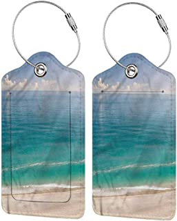 Luggage Suitcase Tag, Waterproof Luggage Tag, Full Back Privacy Cover Ocean Quiet Tranquil Beach and Sky (1,2 & 4 Pack)