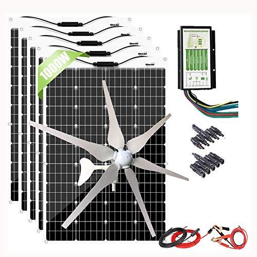 600W Flexible Solar Panel + 400W Wind Turbine Generator + Hybrid Charge Controller,1000 Watts 12V...