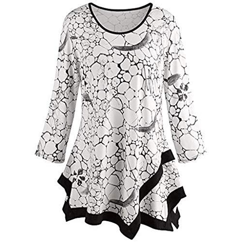Dorical Damen Plus Size Lange Tops Herbst Winter T-Shirts V-Ausschnitt Langarm Long Tunika Pullover Drucken Asymmetrisch Saum Tops/Festliche Bluse Mode Oberteile Oversized Promo(Weiß,XX-Large)