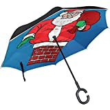 Fat-Santa Stuck in Chimney Inverted Umbrella Reverse Auto Open Double Layer Windproof Uv Protection Upside Down Umbrella for Car Rain Outdoor Use