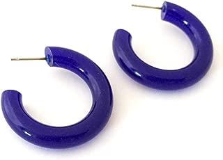 Cobalt Blue Hoops | Vintage Lucite Tube Hoop Earrings