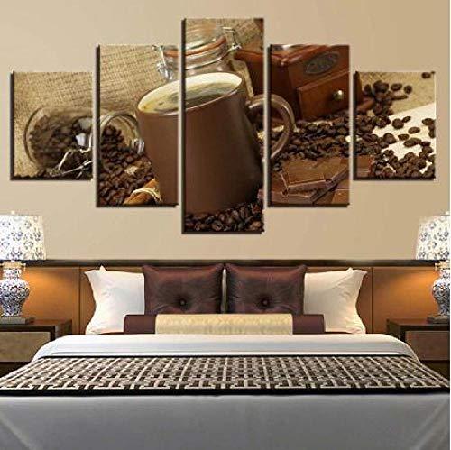 GSDFSD Cuadro sobre Lienzo - 5 Piezas - Barras de café y Chocolate - Ancho: 150Cm, Altura: 80Cm - Listo para Colgar - En Un Marco