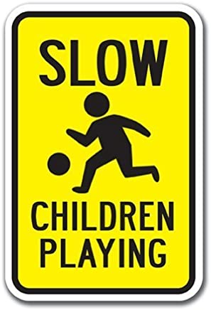 f088d3844e8 Funny Decorative Signs Slow Children Playing Sign Heavy Gauge Metal  Aluminum Sign for Garages