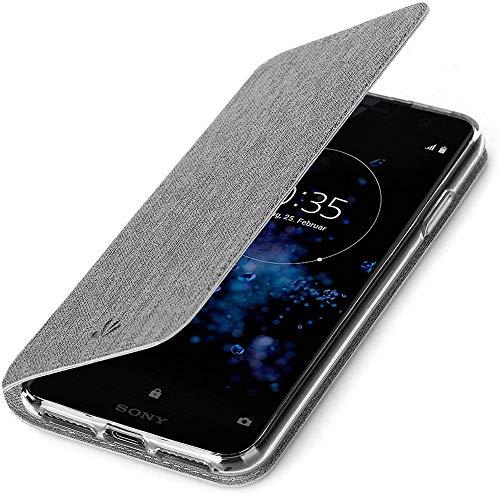 Eabuy Xperia XZ2 Compact Coque, Premium Etui à Rabat Magnétique PU Cuir Porte-Cartes Portefeuille TPU Intérieur Housse avec Béquille pour Sony Xperia XZ2 Compact Gris