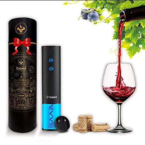 Abrebotellas eléctrico, recargable, abrebotellas automático, abrebotellas de vino, con base de aluminio y cable de carga USB, apto para uso doméstico (negro)