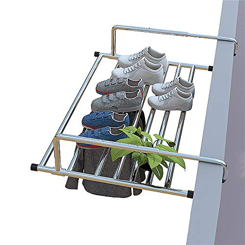 AKOZLIN バスタオルハンガー 幅(87-160)伸縮可能 ベランダ用物干し 洗濯物干し タオルハンガー ホッセル 引っ掛けタイプ タオル掛け 置き棚 窓枠物干し 靴干しハンガー 物干し 折りたたみ可能 組み立て不要 ステンレス製 ラクラク干せる 梅雨