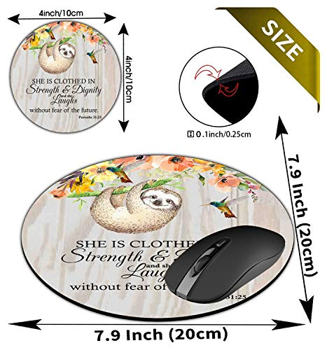 Round Mouse Pad and Coasters Set, Proverbs 31:25 Christian Quotes Bible Verse Mousepad, Anti Slip Rubber Round Mousepads Desktop Notebook Mouse Mat for Working and Gaming Photo #6