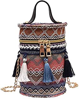 TOOGOO Women'S Retro Cylindrical Bucket Shoulder Bag Fashion Multi-Functional Simple Style Zipper Woven Color Crossbody Bag Blue