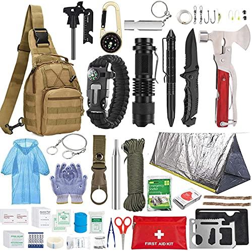 Kit de Supervivencia,con Manta de Emergencia Equipo de Supervivencia de Emergencia,para Viajar Caminar Acampar al Aire,Bolsa de Herramientas Multifuncional (5)