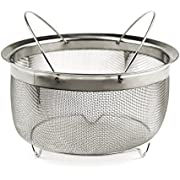 RSVP International Mesh Colander Strainer Basket with Folding Handles, 3 Quarts | for Pasta, Frying, Salads | Dishwasher Safe | Use in Pressure Cookers | Steaming, Draining & Rinsing