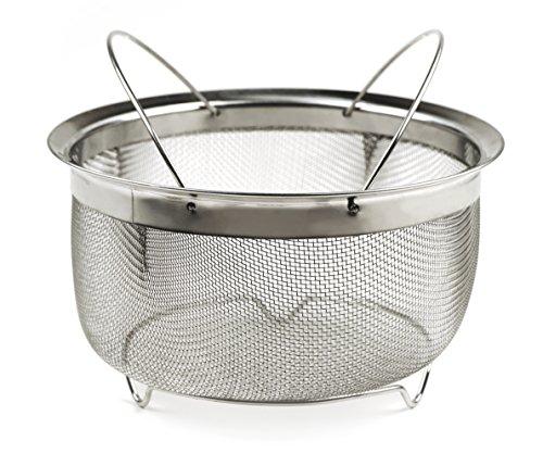 RSVP International M8FH Mesh Colander Strainer Basket with Folding Handles 3 Quarts | For Pasta Frying amp Salads | Dishwasher Safe | Use in Pressure Cookers | Steaming Draining amp Rinsing