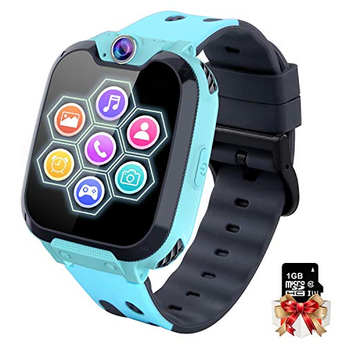 Reloj Inteligente Niño con Mp3 Musica - 7 Juegos Smartwatch Niños, Reloj Inteligente Niña, Relojes Smart Realiza Llamadas Mensajes de Voz Reloj de Cámara Alarma, Niños de 3 a 12 Años (W/ 1G SD Card)