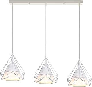 iDEGU Lámpara de Techo 3 Luces, E27 Iluminación Colgante Vintage Industrial Forma de Jaula de Diamante Metal Pantalla Lámpara Colgante, 25CM, 50cm base, Blanco