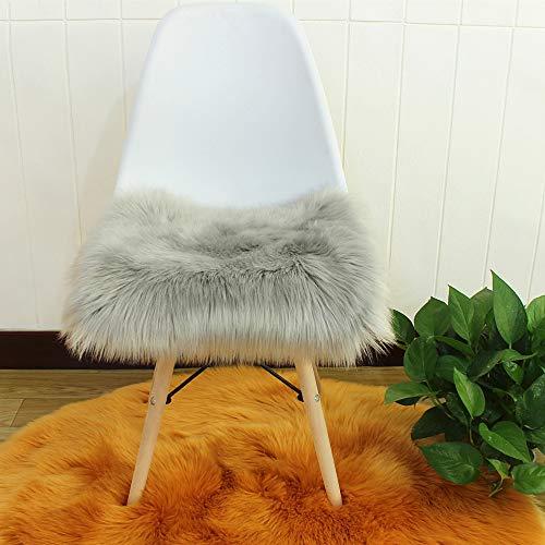 Faux Lammfell Sitzkissen, Schaffell Sitzauflage Longhair Fell Optik Nachahmung Wolle Sofa Matte (Grau,40 * 40cm)