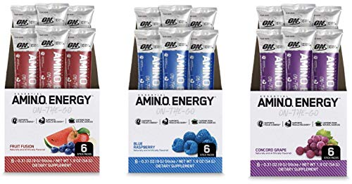 Optimum Nutrition Amino Energy Multipack - Pre Workout with Green Tea, BCAA, Amino Acids, Keto, Green Coffee Extract, Energy Powder - Grape, Fruit Fusion and Blue Raspberry (12 Count, 6 per Flavor)