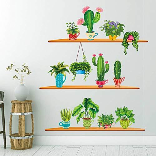 GUDOJK Muursticker Bloempot Muursticker Cartoon Planten Muurstickers voor Kinderkamers Woonkamer Slaapkamer Glazen Decoratie