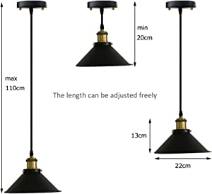 ANYE 3-Light 55 Lumens Led Remote Control Battery Run Indoor Not Hardwired Black Pendant Light for Aisle Bedroom-Easy Installation, Dimmable Control,Battery Not Included