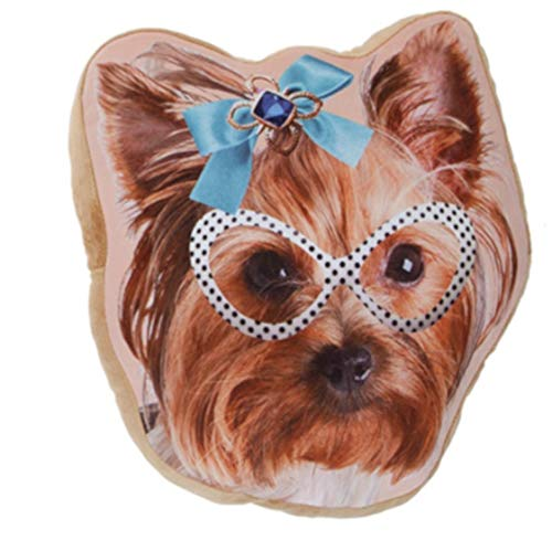 Kamparo Cojín de cabeza de perro con lazo azul, 37 cm, marrón