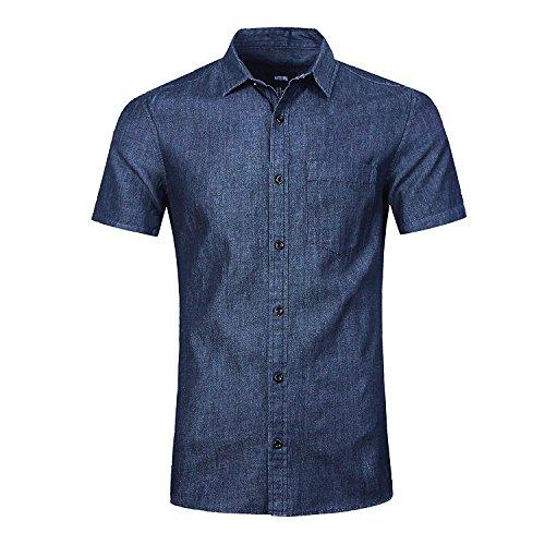 NUTEXROL Herren Jeanshemden Kurzarmhemd Regular Fit Denim Shirt Cowboy-Style Freizeithemd Dunkelblau L