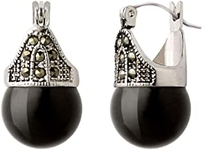 Linda Schnoll Hematite and Ball Hinged Pierced Earrings - Jet Black Jade