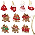 Listenman 20PCS Christmas Ornaments, Gingerbread Christmas Tree Decorations and Small Christmas Decor Christmas Element(Christmas Gloves, Socks, Tree, Hat), 2 of Each Design