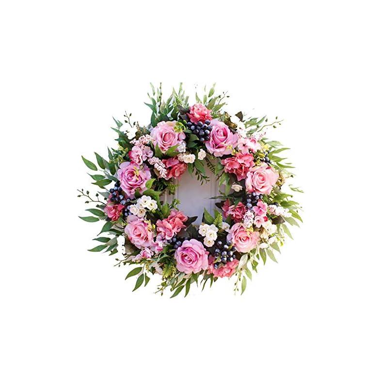 "silk flower arrangements ywxka decorative front door wreath,artificial silk rose flower wreath 21.7"" - handmade garland for autumn winter outdoor wedding display,pink"