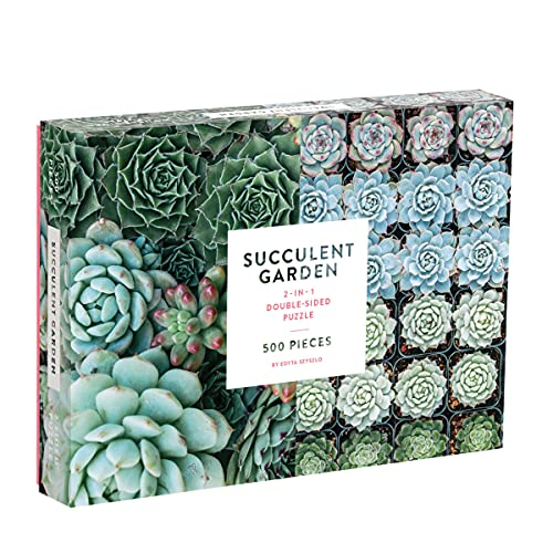 Galison Succulent Garden 500 Piece Double Sided Jigsaw Puzzle for Adults and Families, Fun Family...