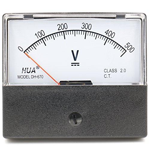 Heschen Voltmeter, rechteckig, analoge Anzeige, Volt-Spannungsmesser, 670Stil, DC 0-500V, Klasse 2.0