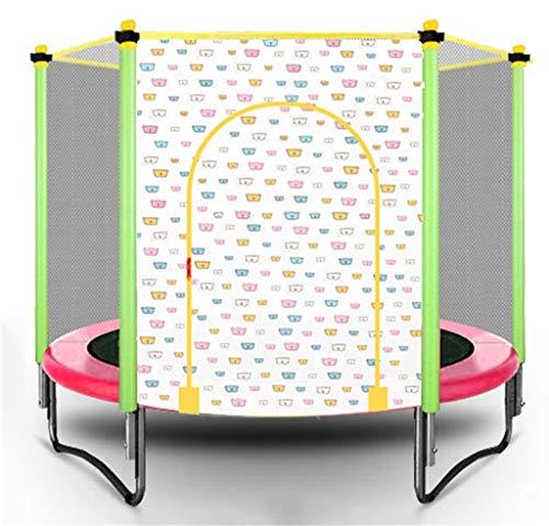 LKFSNGB Cama elástica Plegable para niños Mini trampolín Interior y Exterior Salto de Puenting con trampolín de Red Protectora Fácil de Instalar: Rosa/Amarillo