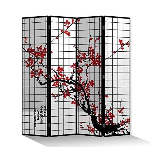 Fine Asianliving Paravent Raumteiler Trennwand Spanische Wand Raumtrenner Sichtschutz Japanisch Orientalisch Chinesisch L160xH180cm Bedruckte Canvas Leinwand Doppelseitig Asiatisch -203-304