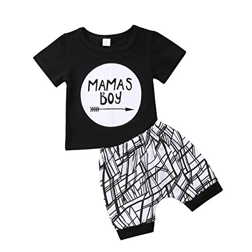 Frecoccialo Baby Jungen Kleidung Set 2 PCS Kurzarm Shirt + Gestreift Shorts Mama's Boy Neugeborenes Outfit Sommer Bekleidungsset 0-2 Jahre