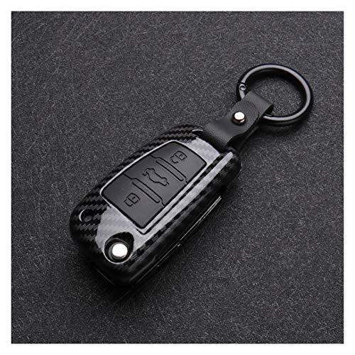 GOODNESS XYXYMY ABS Fibra DE Carbono DE Silicona Cubierta Cubierta DE Cubierta Protector Ajuste para Audi A3 A4 A5 C5 C6 8L 8P B6 B7 B8 C6 RS3 Q3 Q7 TT 8L 8V S3 Llavero (Color Name : A Carbon Black)